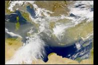 Early Spring Dust over the Mediterranean Sea