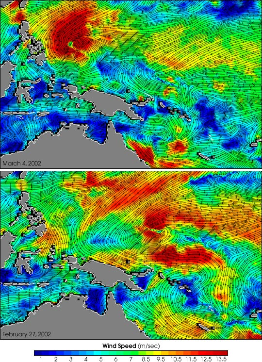 Twin Cyclones Result From Shift in the Trade Winds