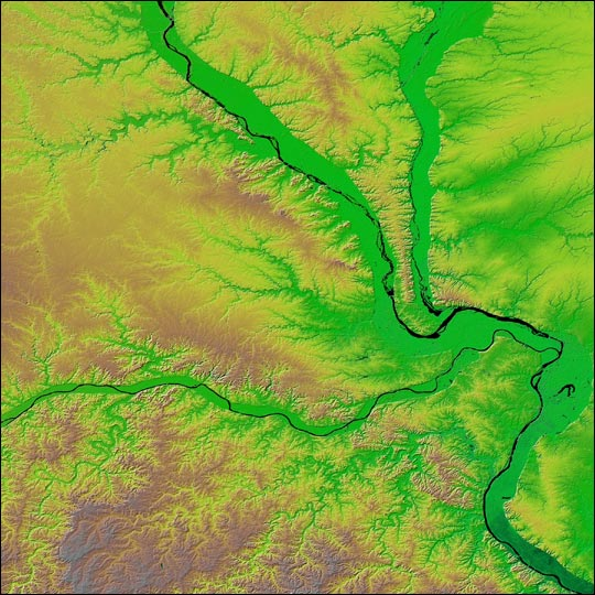 Relief Map of St. Louis, Missouri