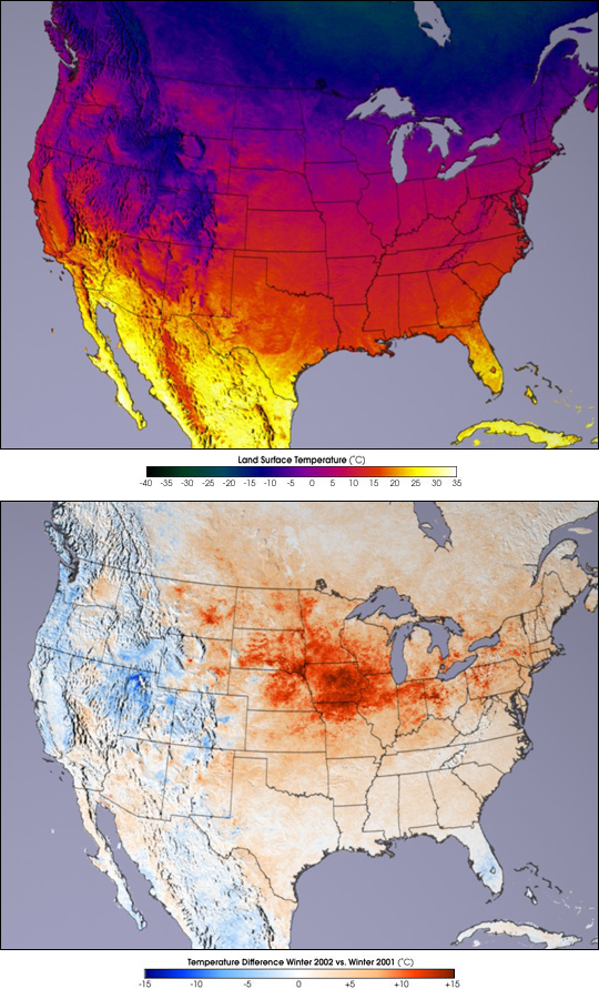 Terra Data Confirm Warm, Dry U.S. Winter