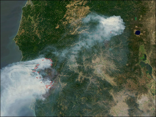 Biscuit Fire Oregon From Nasa S New Satellite Aqua