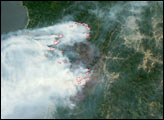 Biscuit Fire, Oregon from NASA's New Satellite—Aqua - selected image