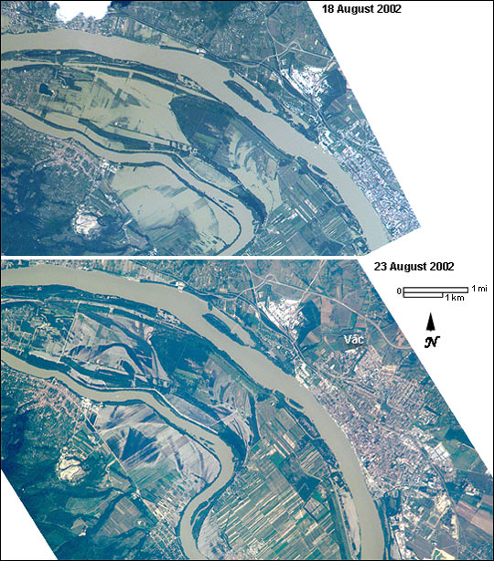 Danube River flooding near Vac, Hungary