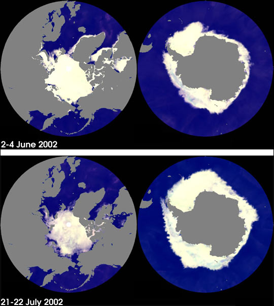 AMSR-E measures sea ice extents