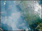 Smoke over Rondonia, Brazil