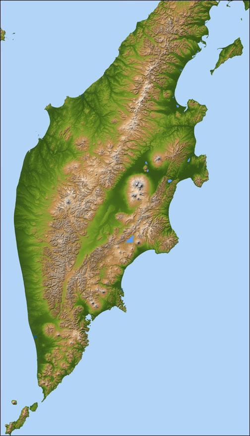 Terrain Map, Kamchatka Peninsula