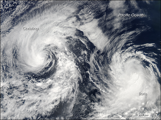 Tropical Storms Boris and Christina