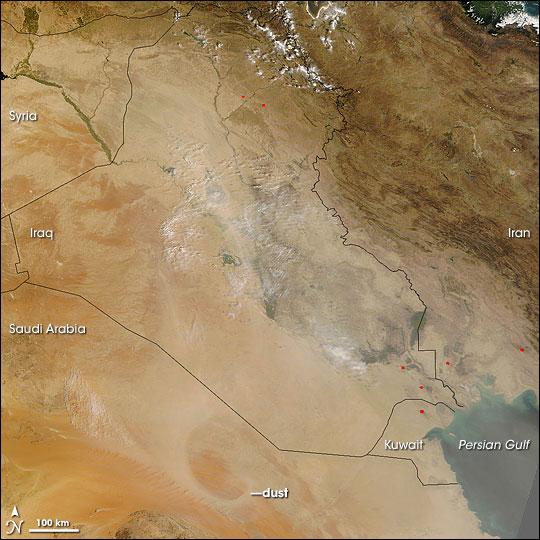 Dust over Iraq and Saudi Arabia