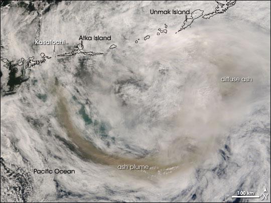 Aleutian Islands' Kasatochi Volcano Erupts