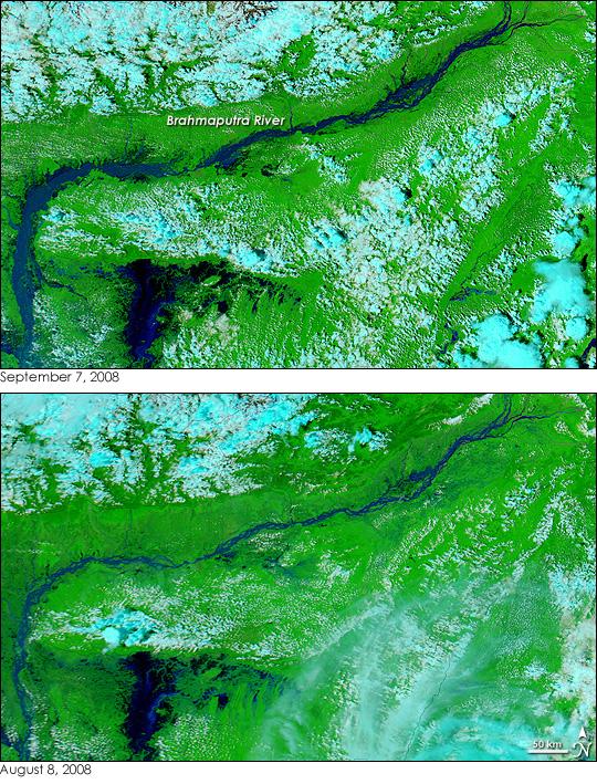 The Brahmaputra River floods Northeast India