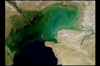Sediment Clouds the Caspian Sea