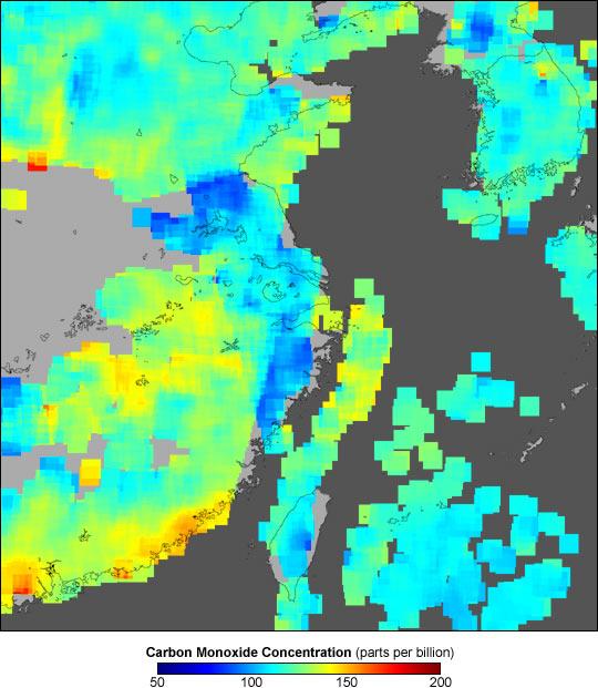 Carbon Monoxide over Eastern China