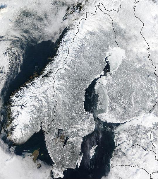 Scandinavian Peninsula in Winter