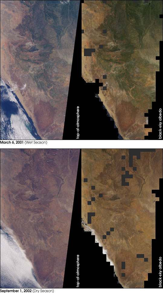 Seasonal Surface Changes in Namibia and Central Angola