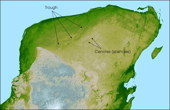Relief Map, Yucatan Peninsula, Mexico
