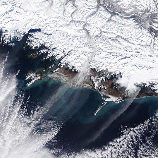 Dust Streamers Over Gulf of Alaska