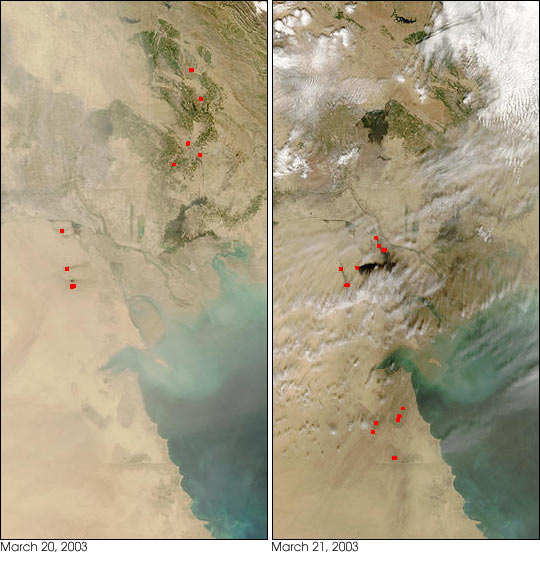 Dust, Fires, and Smoke in Southern Iraq