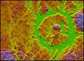 Topography of the Manicouagan Crater, Quebec, Canada
