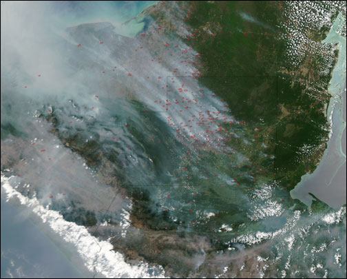 Smoke Billows from Fires in the Yucatan