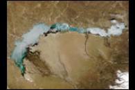 Ice Melts on Lake Balkhash, Kazakhstan