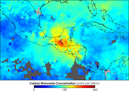 Pollution from Fires in Central America