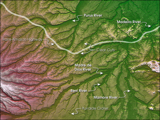 Topography of the Pando Province, Northern Bolivia