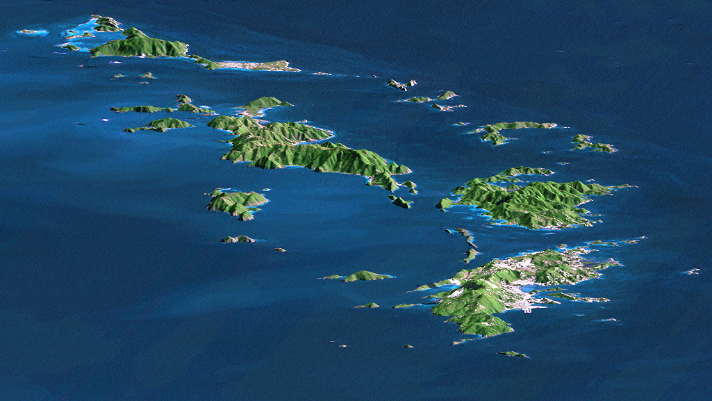 Caribbean Topographic Map.Perspective Image Of The Virgin Islands Caribbean