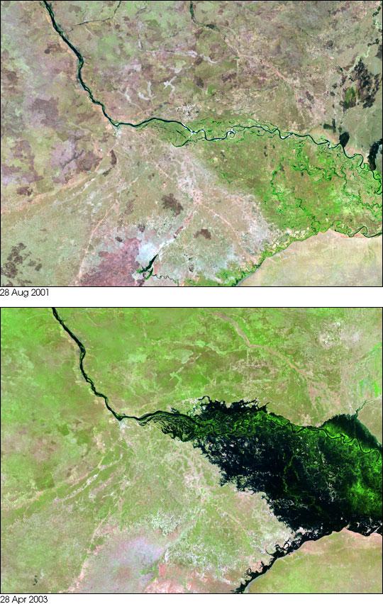 Flooding along the Zambezi River