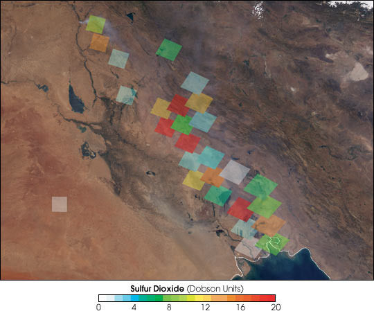 Sulfur Dioxide Plume Lingers over Iraq