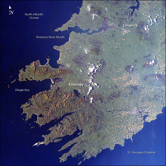 Southwestern Ireland as seen from the International Space Station
