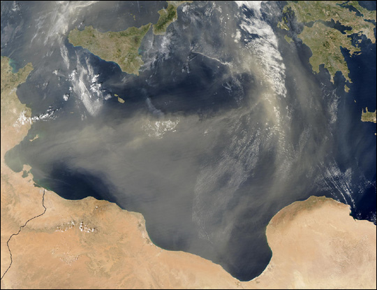 Dust Storm over the Mediterranean