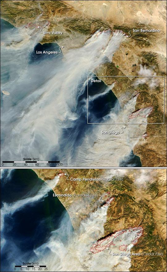 Wildfires Strike near Los Angeles and San Diego