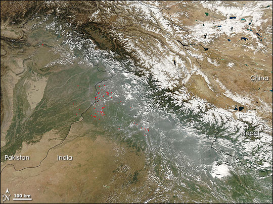 Haze along the Himalaya