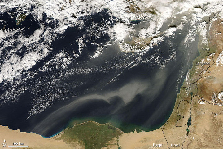Dust over the Eastern Mediterranean Sea