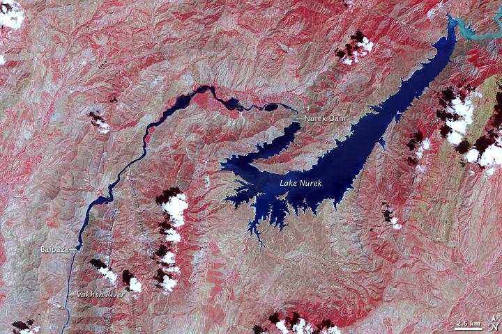 Vakhsh River and Lake Nurek, Tajikistan