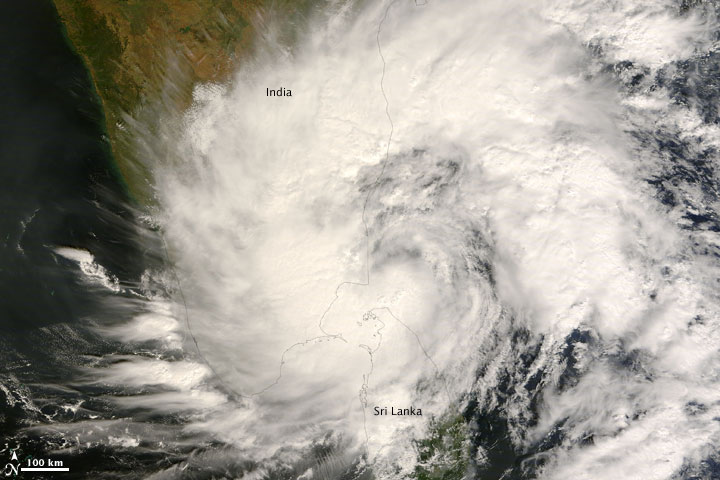 Cyclone 06B over Sri Lanka and India