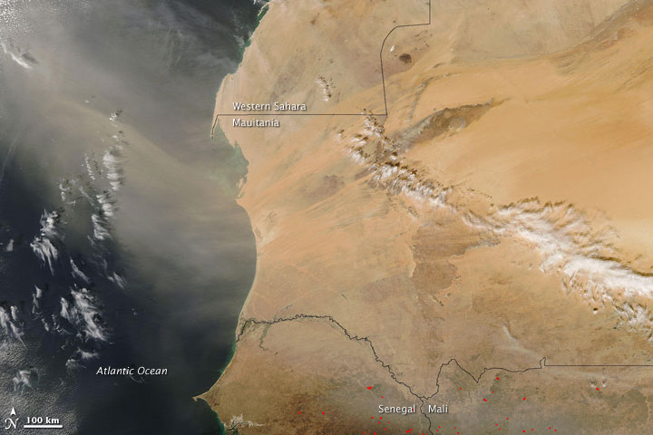 Dust Plume off Western Africa