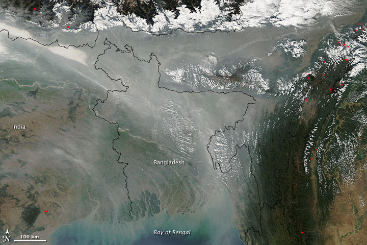 Haze Collects over Bangladesh