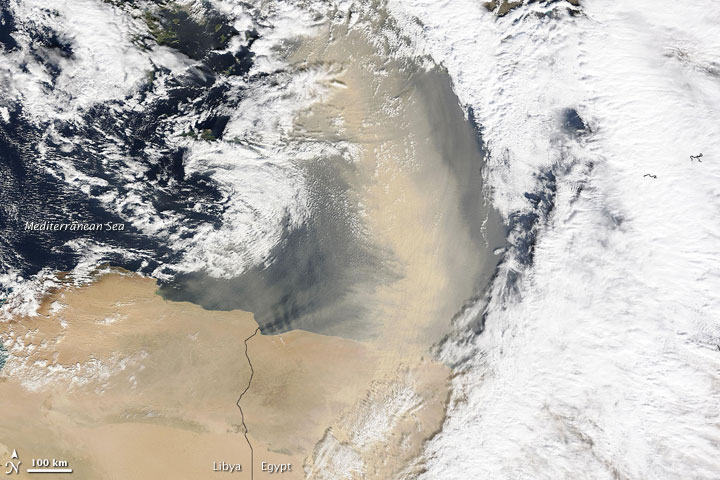 Dust Plume off Egypt
