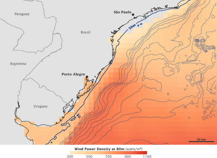 Wind Speeds off the Coast of Southern Brazil