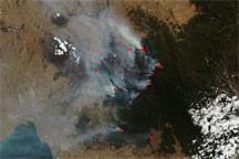 Bushfires around Melbourne, Australia