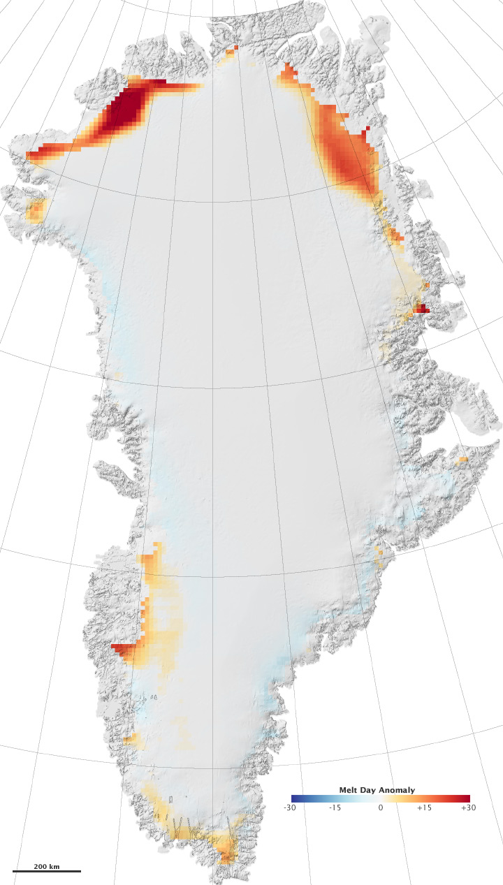 Melting on the Greenland Ice Cap, 2008
