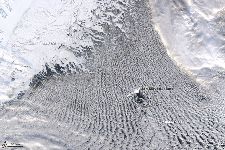 Clouds Streets and von Karman Vortices, Greenland Sea