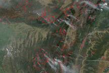 Fires in Eastern India and Northwest Burma (Myanmar)