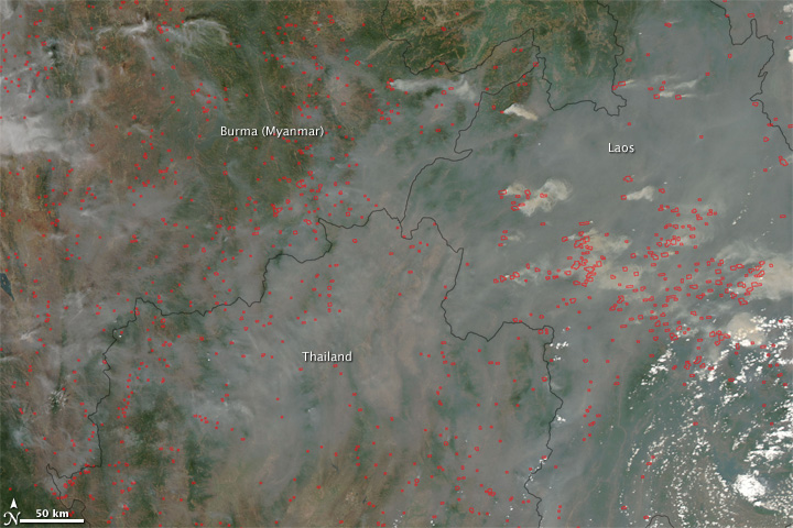 Fires in Burma, Thailand, and Laos