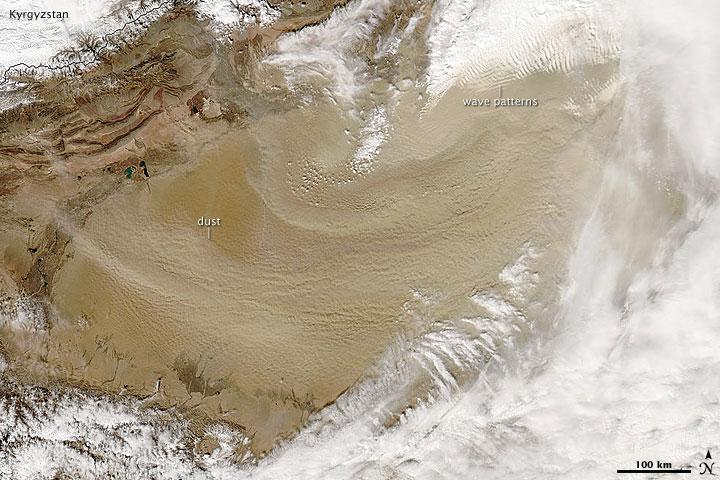 Dust Plumes over the Taklimakan Desert