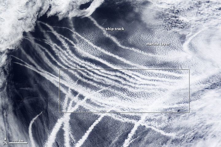 Ship Tracks South of Alaska