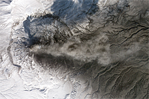 Ashfall from the Karymsky Volcano - selected image