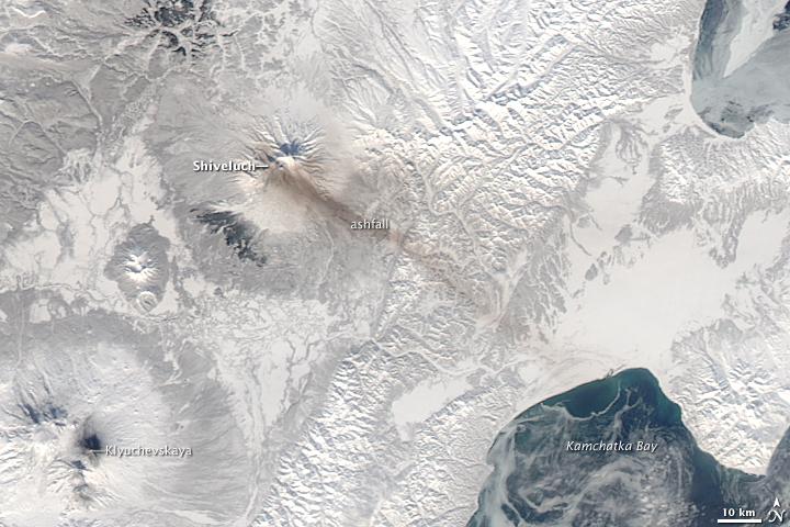 Ashfall from Shiveluch Volcano, Kamchatka