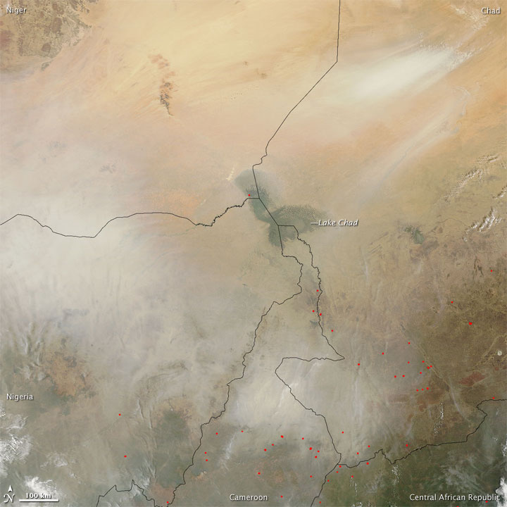 Dust Plumes over Central Africa